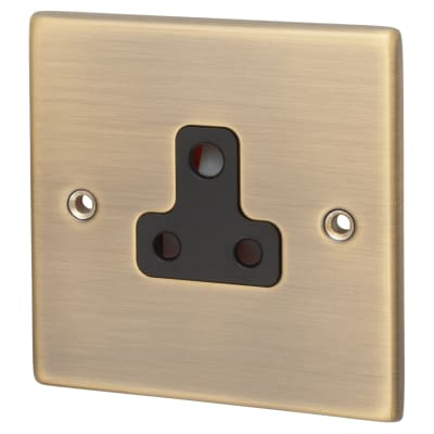 Hamilton Hartland 5A 1 Gang Unswitched Round Pin Socket - Antique Brass with Black Inserts