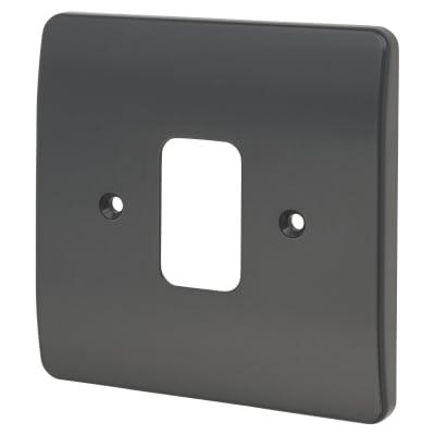 MK Logic Plus 1 Gang Grid Plus Front Plate - Graphite