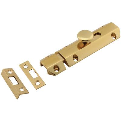 Carlisle Brass French Door Bolt / Flat Section Bolt - 100mm - Polished Brass