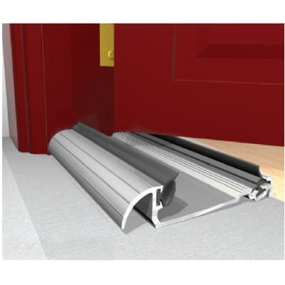 Exitex Low Height Macclex Threshold - 1829mm - Thick Inward Opening Doors - Mill Aluminium