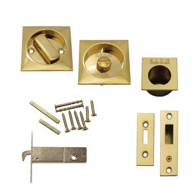 Klug Square Flush Privacy Set with Bolt - PVD Brass