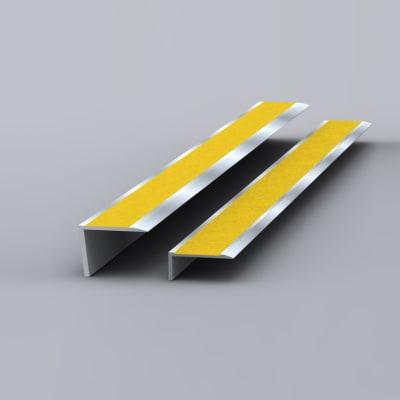 EdgeGrip Aluminium Nosing - 750 x 55 x 55mm - Aluminium/Yellow