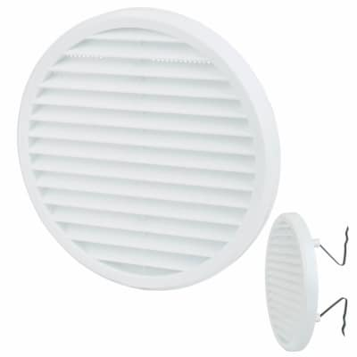 Clip Fit Round Vent - 156 x 13.5mm - 8900mm2 Free Air Flow - White Plastic