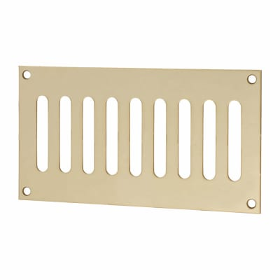 Plain Slotted Vent - 165 x 89mm - 3200mm2 Free Air Flow - Polished Brass