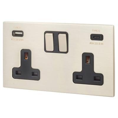 Hamilton Hartland CFX 13A 2 Gang DP Switched Socket x2 USB Type C Outlet 2x2.4A Satin Steel/Black