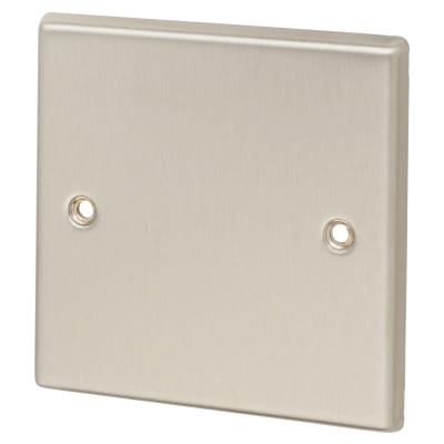 Contactum 1 Gang Blank Plate - Brushed Steel