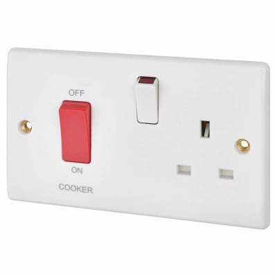 BG 45A Cooker Control Unit with 13A Socket - White