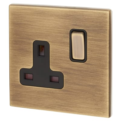 Hamilton Hartland CFX 13A 1 Gang DP Switched Socket - Antique Brass with Black Inserts