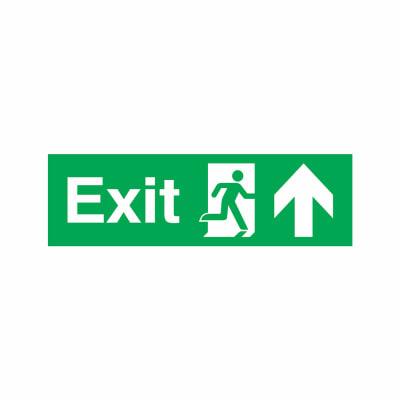 Exit Running Man with Arrow - Down - 150 x 450mm - Rigid Plastic