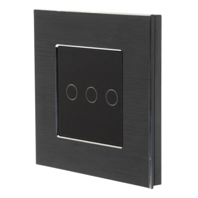 Homeflow 3 Gang Wi-Fi Smart Aluminium Switch - Black