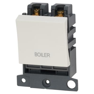 Click Scolmore MiniGrid 20A DP Ingot Switch 2 Module - Boiler - White