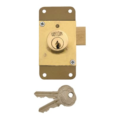 UNION 4143 Cylinder Cupboard/Drawer Lock - 76 x 38mm - Brass