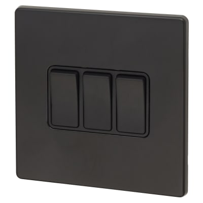 Hamilton 10A 3 Gang 2 Way Screwless Switch - Jet Black with Black Inserts