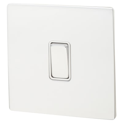 Hamilton 10A 1 Gang 2 Way Screwless Flat Plate Switch - Bright Chrome with White Inserts