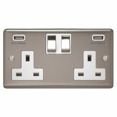 Contactum 13A 2 Gang DP Switched Socket with 5V USB - Brushed Steel with White Inserts