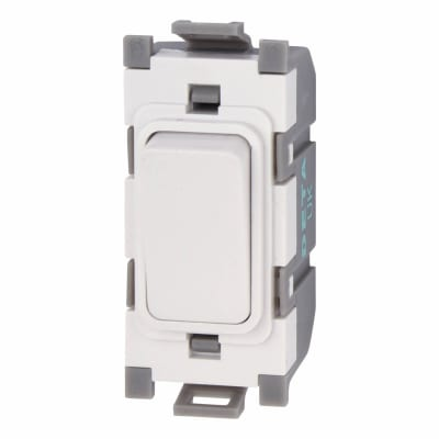 Deta 10A 2 Way Single Pole Grid Switch - White