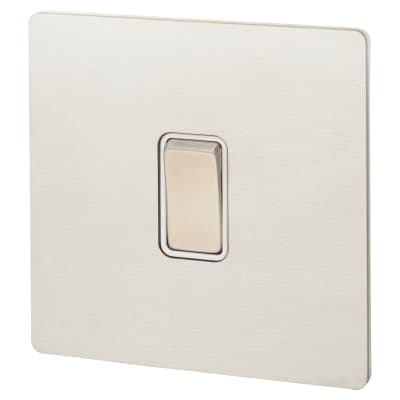 Hamilton 10A 1 Gang 2 Way Screwless Flat Plate Switch - Satin Stainless with White Inserts