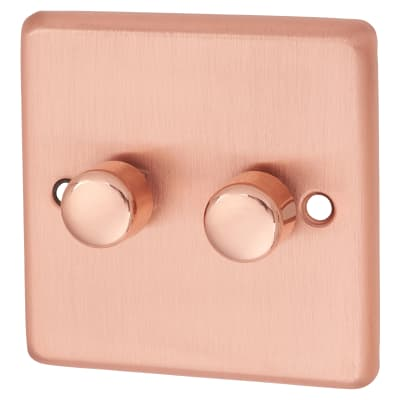 G&H Brassware 2 Gang LED Dimmer Switch - Brushed Copper