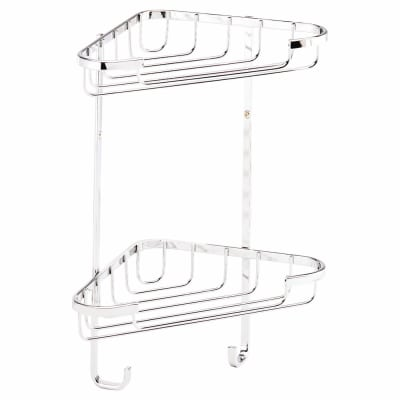 Croydex Wirework Shower Small Corner Basket - Two Tier - Mild Steel