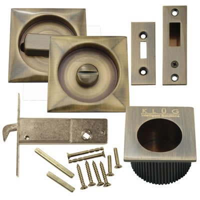 KLÜG Square Flush Privacy Set with Bolt - Antique Brass