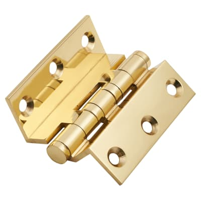 Cranked Ball Bearing Hinge - 75 x 3mm - Polished Brass - Pair