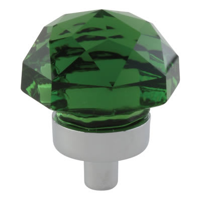 Aglio Floral Coloured Glass Cabinet Knob - 25mm - Polished Chrome/Green