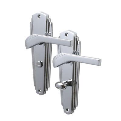 M Marcus Waldorf Door Handle - Bathroom Set - Polished Chrome