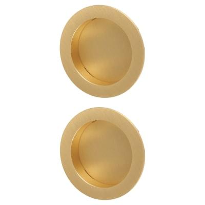 M Marcus Round Flush Pull Handles - Satin Brass