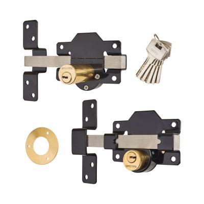 Locking Long Throw Gate Lock - 70mm - 2 keyholes - 316 Stainless Steel
