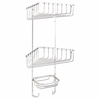 Croydex Wirework Shower Corner Basket - Three Tier - Stainless Steel
