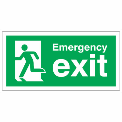 Emergency Exit Running Man Left - 150 x 300mm - Rigid Plastic