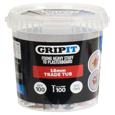 Grip It® Plasterboard Fixing - Red - 18mm - 100 Tub
