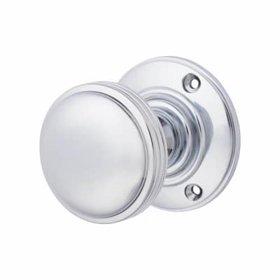 Aglio Oxford Mortice Door Knob - 69mm - Polished Chrome