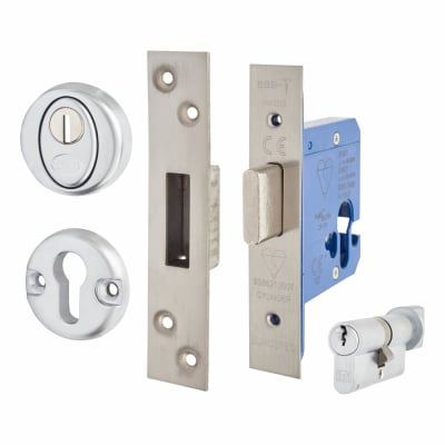A-Spec BS8621 Euro Deadlock & Thumbturn - 78mm Case - 57mm Backset - Satin Stainless