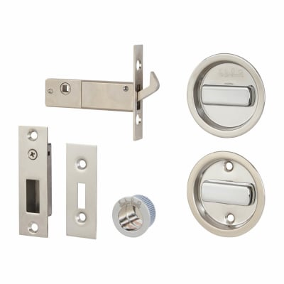 Klug Round Flush Handle Set with Latch - Stainless Steel Grade 304 - Polished