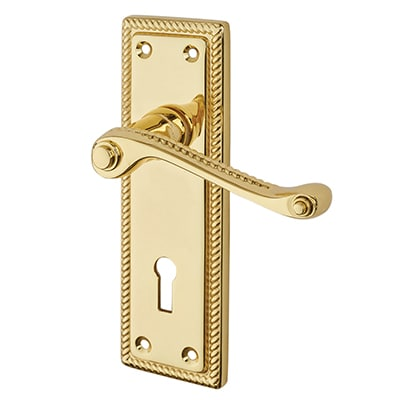 Touchpoint Budget Rope Edge Scroll Door Lock Handle - Keyhole - Polished Brass
