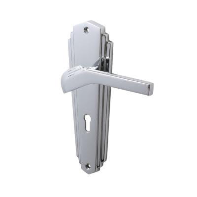 M Marcus Waldorf Door Lock Handle - Keyhole - Polished Chrome