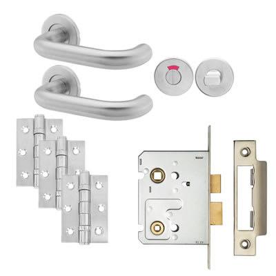 19mm Lever Door Handle on Rose - Bathroom Lock - Door Kit - Stainless Steel
