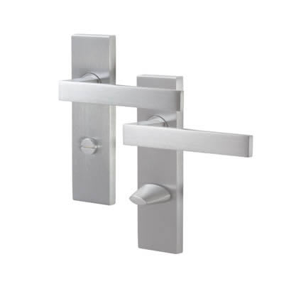 M Marcus Delta Bathroom Door Handle - Satin Chrome