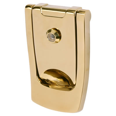 Hoppe Designer Door Knocker with viewer - 110 x 74mm - Polished Brass