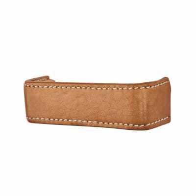 Bar Leather Cabinet Handle - 120mm - Plain - Stitched - Natural
