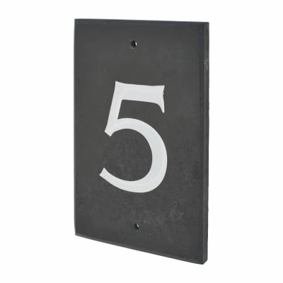 Slate Numeral - 5 - 140 x 90mm - Polished Black