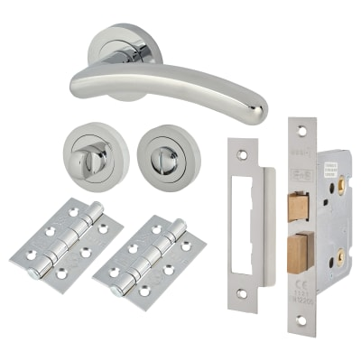 Touchpoint Carina Lever Door Handle on Rose - Bathroom Lock - Door Kit - Polished Chrome