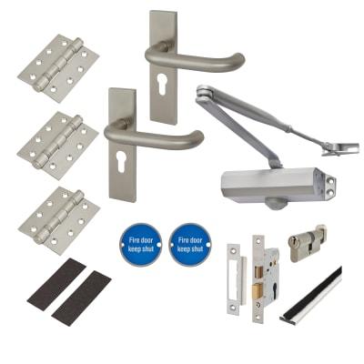 Light Duty Lever Door Handle on Backplate Fire Door Kit - Satin Stainless Steel