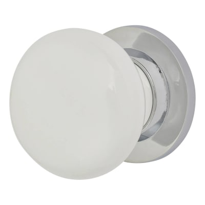 Touchpoint Porcelain Door Knob - White & Chrome