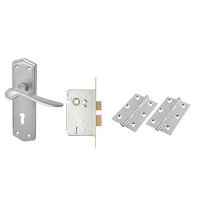 Touchpoint Rome Door Lock Handle Kit - Satin Chrome
