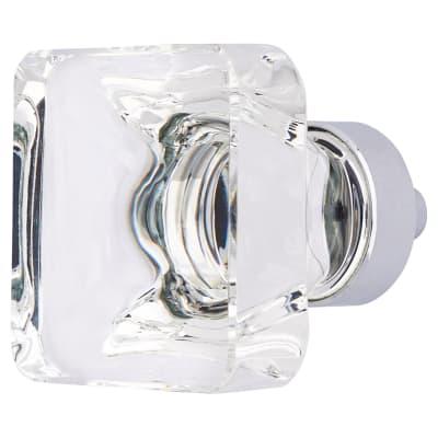 Altro Square Cut Glass Cabinet Knob - 33mm - Polished Chrome