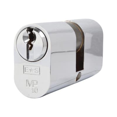 Eurospec Oval Double Cylinder - 10 Pin - 32 + 32mm - Polished Chrome - Keyed Alike