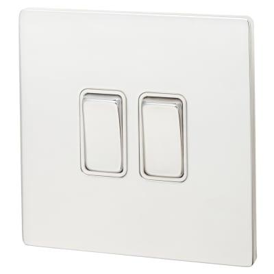 Hamilton Sheer CFX 10XA 2 Gang 2 Way Switch - Bright Chrome with White Inserts