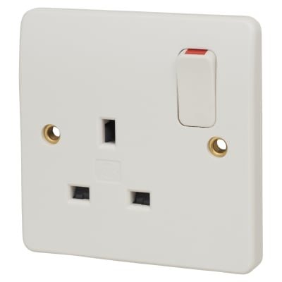 MK Logic Plus 13A 1 Gang Double Pole Switched Socket - White